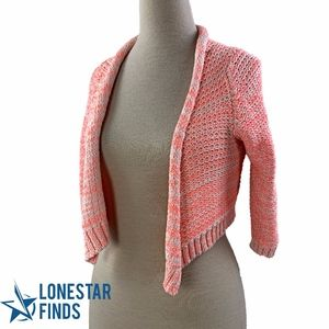 Anthro Moth Pink Knit Cropped Open Cardigan W13